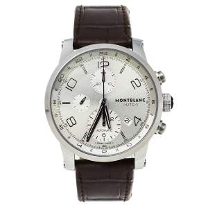 Montblanc Silver Stainless Steel Timewalker Chronograph 7263 Men's Wristwatch 43 MM