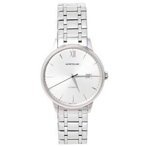 Montblanc Silver Stainless Steel Heritage Meisterstuck 7325 Men's Wristwatch 40 mm