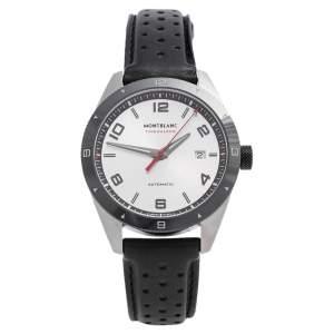 ساعة يد رجالية مون بلان تايم واكر 7426 جلد ستانلس ستيل فضية 41 مم