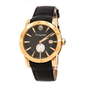 Montegrappa Black Rose Gold Plated NeroUno IDNRWAIB Men's Wristwatch 42 mm