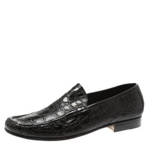 Moreschi Black Croc Leather Loafers Size 40