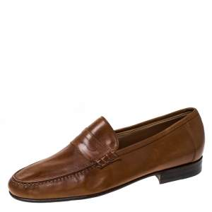 Moreschi Brown Leather Penny Slip On Loafers Size 41.5
