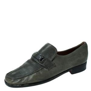 Moreschi Grey Leather Slip On Loafers Size 41.5