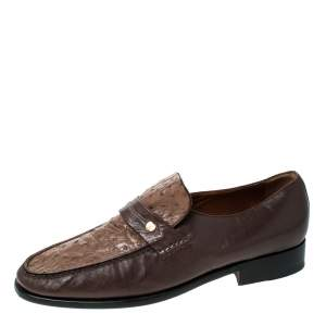 Moreschi Brown Leather And Ostrich Trim Slip On Loafers Size 41