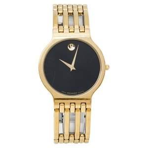 Movado Black Gold Plated Stainless Steel Esperanza Men's Wristwatch 32.50 mm