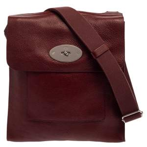 Mulberry Burgundy Leather Antony Messenger Bag