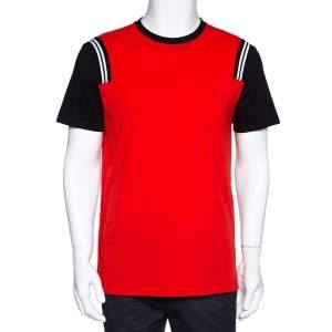 Neil Barrett Red & Black Cotton Varsity Slim Fit T-Shirt L