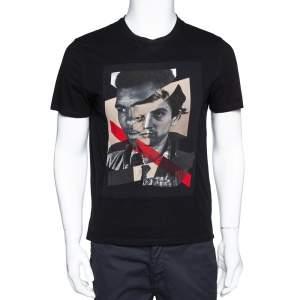 Neil Barrett Black Cotton Hybrid Ali De Niro Print T Shirt M