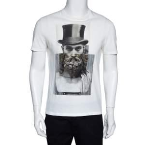 Neil Barrett Cream Cotton Hybrid Top Hat Statue Print T-Shirt S
