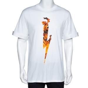 Neil Barrett White Flame Thunderbolt Print Cotton Rolled Up T-Shirt M