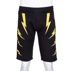 Neil Barrett Black & Yellow Slouch Fit Thunderbolt Shorts M