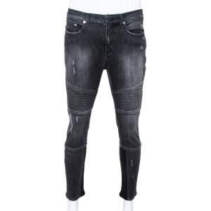 Neil Barrett Grey Ribbed Denim Regular Rise Skinny Fit Biker Jeans L