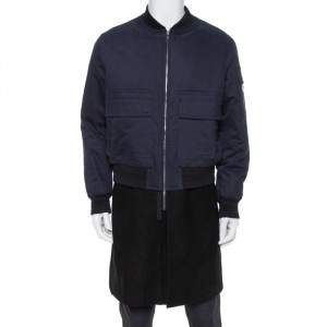 Neil Barrett Navy Blue & Black Wool Double Layered Zip Front Coat L