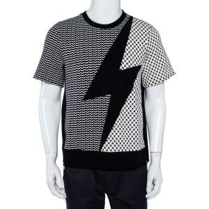 Neil Barrett Monochrome Kefiya Bolt Paneled Knit T-Shirt S