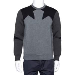 Neil Barrett Grey & Black Paneled Neoprene Side Zip Detail Slim Fit Sweatshirt S