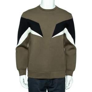 Neil Barrett Green Paneled Neoprene Side Zip Detail Slim Fit Sweatshirt M