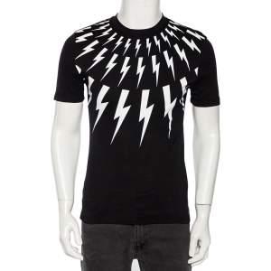 Neil Barrett Black Thunderbolt Print Cotton Jersey Slim Fit T-Shirt S