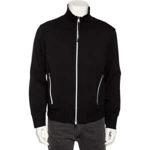 Neil Barrett Black Knit High Collar Regular Bomber Fit Tracksuit Jacket L