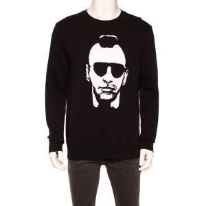 Neil Barrett Black Knit Printed Crew Neck Sweatshirt M