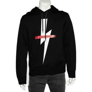 Neil Barrett Black Crossed Out Bolt Printed Knit Hooded Sweatshirt L