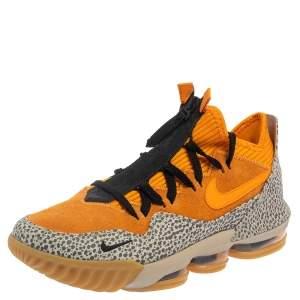 Nike Lebron Orange Suede and Textured Leather Safari 16 Sneakers Size 42.5