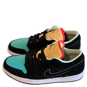 Nike Jordan 1 Low Black Aurora Green Laser Orange Size 42
