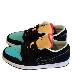 Nike Jordan 1 Low Black Aurora Green Laser Orange Size 44