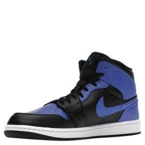 Nike Jordan 1 Mid Hyper Royal Tumbled Leather Sneakers Size EU 42 US 8.5