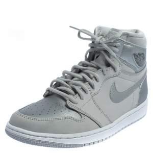 Nike Air Jordan 1 Metallic Silver/Grey Leather OG CO JP High Top Sneakers Size 43