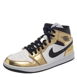 Air Jordan 1 Mid SE Metallic Gold/Black/White Sneakers Size 44