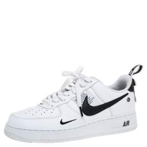 Nike Air Force One White Leather Utility Low Top Sneakers Size 42.5