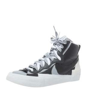Nike x Sacai Black/Grey Leather High Top Sneakers Size 42.5