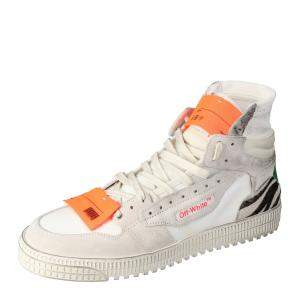 Off White Mix Media High Top Sneakers Size  40