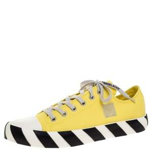 Off-White Yellow Canvas Vulcanized Low-Top Sneakers Size 43