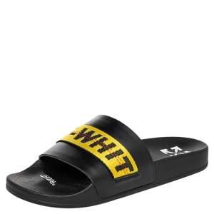 Off-White Black/Yellow Leather Logo Slide Sandals Size 41