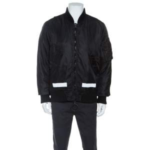 Off-White Black Printed Rib Trimmed Oversized Bomber Jacket XS