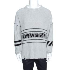 Off White Grey Logo Embroidered Knit Distressed Jumper S