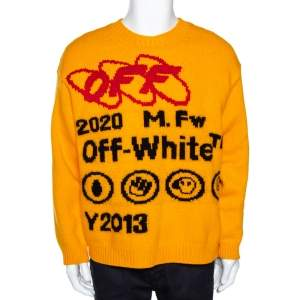 Off-White Yellow Bonded Knit Crew Neck Sweater M