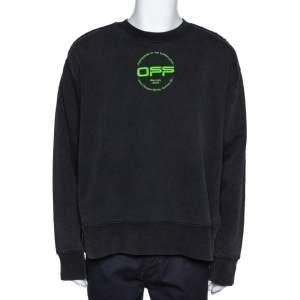 Off-White Dark Grey Hand Logo Print Cotton Sweatshirt M