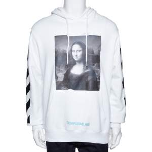 Off-White White Diag Monalisa Print Cotton Hooded Sweatshirt M