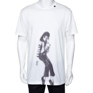 Off White White Cotton MJ Illusionist Print Crew Neck T Shirt L