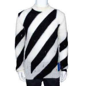 Off-White Monochrome Diagonal Mohair & Wool Blend Sweater M