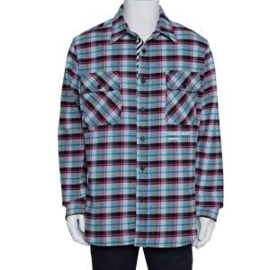 Off-White Grey Check Cotton Flannel Long Sleeve Shirt L