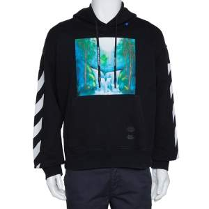 Off-White Black Diag Waterfall Print Cotton Hoodie M