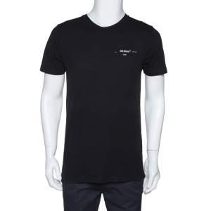 Off-White Black Logo Print Cotton Crew Neck T-Shirt S