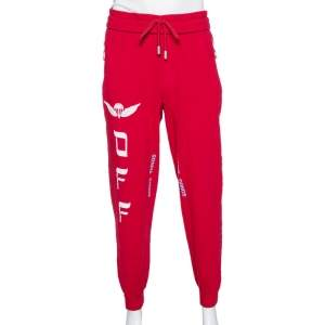 Off-White Red Parachute Print Cotton Jogging Pants M