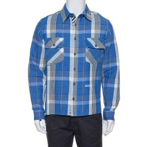 Off-White Blue Check Linen & Cotton Button Front Shirt S