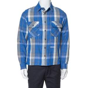 Off-White Blue Checked Cotton Linen Shirt XS