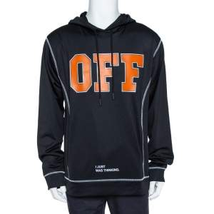 Off-White Black  'I just was thinking' Print Hoodie XL