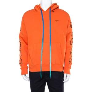 Off-White Orange Cotton Arrow Embroidered Hoodie L